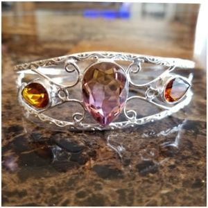 "Jewelry - Tourmaline Bangle 3 inch width fits 7.5 to 9"""